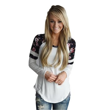 Print Ladies Round-neck Pullover T-shirts [287764185117]