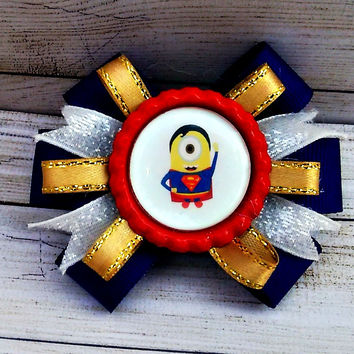 Superman Minion Hair Bow
