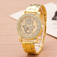 Stylish Gift Good Price New Arrival Trendy Great Deal Designer's Awesome Stainless Steel Band Diamonds Watch [11912227091]