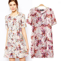 Floral Print Short Sleeve A-Line Mini Dress