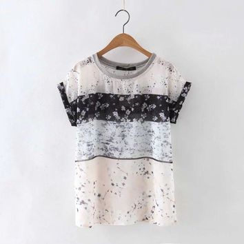 Fashion Casual Multicolor Floral Print Round Neck Short Sleeve Women T-shirt  Tops
