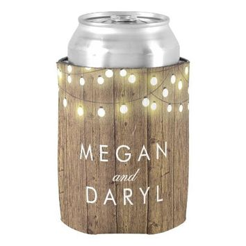 String Lights and Barn Wood Wedding Can Cooler Custom Monogram Neoprene Can Coolers for Wedding Valentines Gift Couple Holders