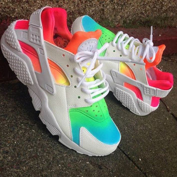 Tie Dye Neon   39 Rainbow Summer  Nike Air Huarache customs ... 1b5a73c32