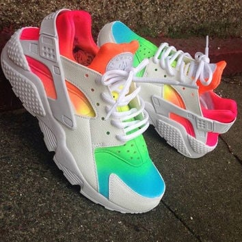 Tie Dye Neon 'Rainbow Summer* Nike Air Huarache customs unisex.