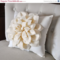 MOTHERS DAY SALE Ivory Dahlia Felt Flower on Ivory Pillow -Pick your Colors- Mum Flower Pillow