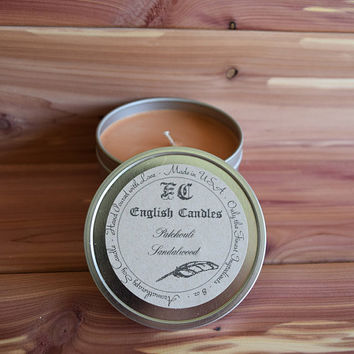 Patchouli Sandalwood - Aromatherapy Soy Candle - Calming Earthy Aroma - Hand Poured - 8 oz Tin Container - Baby/Bridal Shower Favor -  Gift