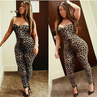 Leopard Print Strapless Bodycon Jumpsuit