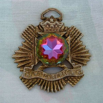 Wiltshire Regiment Watch Fob Mystic Topaz British Army Vintage Jewelry