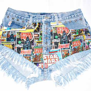 STAR WARS Vintage High Waisted Denim Shorts, Levi Vintage Denim Shorts, Levi Studded and Destroyed Cut off Shorts, Plus Size Denim Shorts