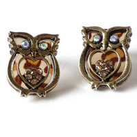 Brown Owl Earrings, Heart, Studs, Post, Glass, Rhinestones, Metal #owl #earrings #jewelry #brown #rhinestones #studs #post