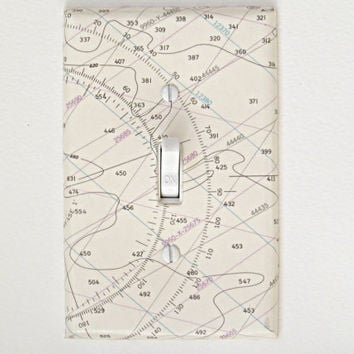 Nautical Nursery Decor - Sea Chart Single Toggle Switch Plate - White with Compass Rose Detail