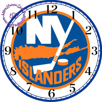 """New York Islanders Sports Team Art - -DIY Digital Collage - 12.5"""" DIA for 12"""" Clock Face Art - Crafts Projects"""