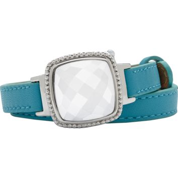 Ela Stainless Steel Cushion Italian Marble Agate Turquoise Leather Wrap Bracelet