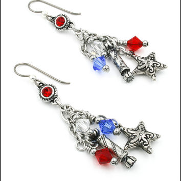 4th of July Earrings, Patriotic Jewelry, Red White Blue Earrings, Independence Day Earrings, Americana Earrings