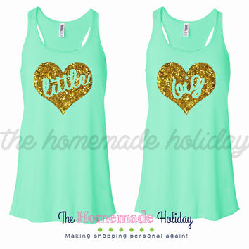 Gold glitter little/big heart tank top set
