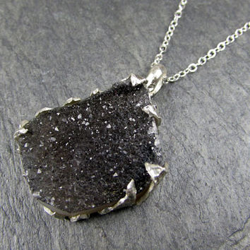 Black Druzy Agate Crystal Cluster Necklace Recycled Sterling Silver Pendant Chain Necklace Gemstone One of a Kind byAngeline