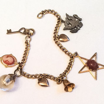 Victorian Gold Fill Charm Bracelet, Vintage Jewelry, Gift for Her SPRING SALE