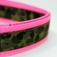 Camouflage Dog Collar Leash & Key Fob Set in Pink or Green