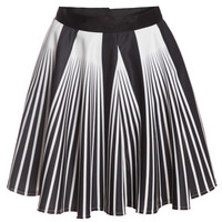 Vertical Striped Flare White Skirt