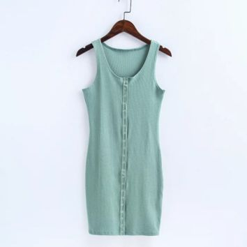 Sexy show body knit cotton front button vest type sexy dress Green