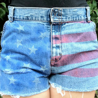 "Distressed High Waisted ""God Bless America"" Shorts"