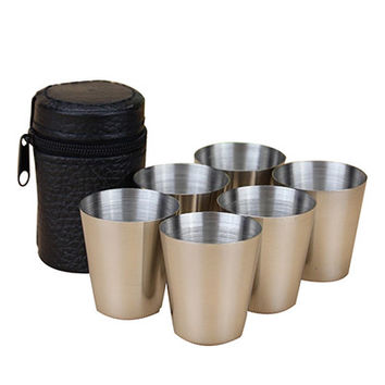 6 Pieces 1oz stainless steal Cups and Leather Box