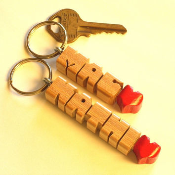 Wood Name - HeartFob Keychain - Birch with Red Heart - Handmade to Order in the USA