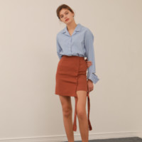 [YUPPE] ribbon string skirt (brown)