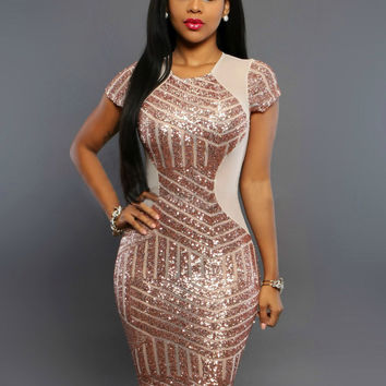 Sequins Pink Sexy Bodycon Dress