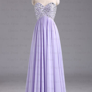 A-line Sweetheart Floor-length Sleeveless Purple Chiffon Long Prom Dress Bridesmaid Dress Evening Dress Party Dress 2013 With Beading