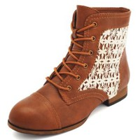 Crochet Inset Lace-Up Bootie by Charlotte Russe - Cognac
