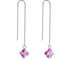 Handcrafted Pink Block CZ Threader Earrings