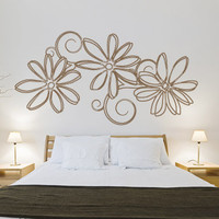 Florals and tribal flowers decals - Floral Outlines - Wall Decals , Home WallArt Decals