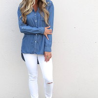 Chambray Charlotte Button Down Top