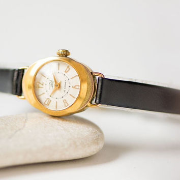 Gold plated lady's watch Zaria\Dawn – tiny woman's watch 50s - unique girl wristwatch gift – classical timepiece - new premium leather strap