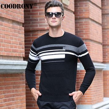 New Arrival Fashion Striped O-Neck Sweaters Winter Warm Merino Woolen Sweater Men Knitted Cashmere Pullovers