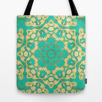 Cassy in Emerald Teal Tote Bag by Lisa Argyropoulos