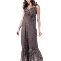 Floral Print Maternity Maxi Dress - Brown