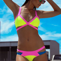 Yellow Neon Punch Strappy Bikini Set - LoveCulture