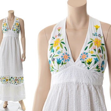 Vintage 70s Mexican Pintuck Embroidered Maxi Dress 1970s Bordados Mexicanos Embroidery Hippie Festival Boho Halter Gypsy Dress / XS-S