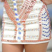 Be Jeweled Sparkle Skirt: Ivory | Hope's