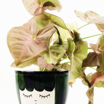 "Ceramic Face Vase in Forest Green - 4"" Wide"