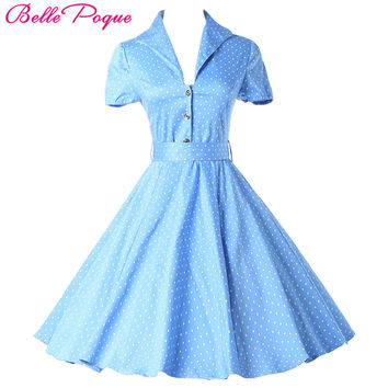 Belle Poque Women Summer Dress Polka Dot 2017 Casual Party Short Sleeve Retro robe Vintage 60s 50s Rockabilly Swing Dresses