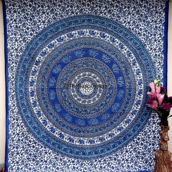 Elephant  Boho Wall Tapestries, Hippie Mandala Tapestry Wall Hanging, Indian Bedspread Bohemian Room Décor, Dorm Bedding Tapestry Art