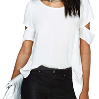 Chic Round Neck Short Sleeve High Low T Shirt