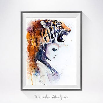 Tiger Girl watercolor painting print, Fashion Illustration, Tiger art, Woman art, Girl Illustration, watercolour, Girl art, art print
