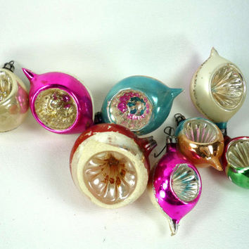 Vintage Indent Christmas Ornaments Set of 8 Mercury Glass Teardrop Round Silvered Gold Blue Pink White Green Red
