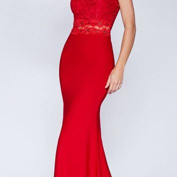 Long Lace Bodice Stretch Knit Sheath Dress Red Sleeveless