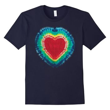 Tie Dye Colorful Heart Cute Rainbow Hippie Graphic T-Shirt
