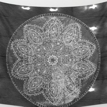 Black And White Mandala Shibori Tye Dye Tapestry Wall Hanging Meditation Yoga Grunge Hippie